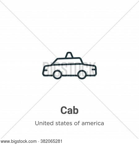 Cab icon isolated on white background from united states collection. Cab icon trendy and modern Cab