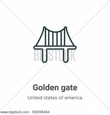 Golden gate icon isolated on white background from united states collection. Golden gate icon trendy
