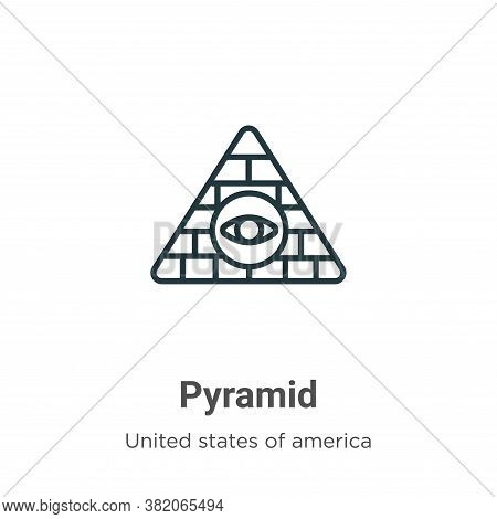 Pyramid icon isolated on white background from united states collection. Pyramid icon trendy and mod