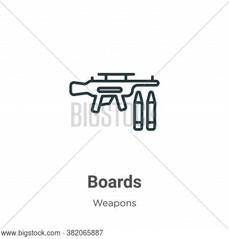 Boards icon isolated on white background from weapons collection. Boards icon trendy and modern Boar