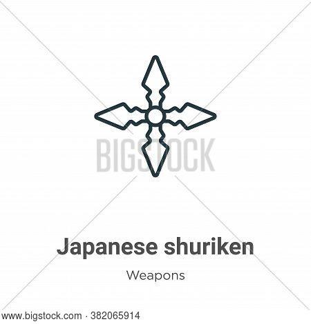 Japanese shuriken icon isolated on white background from weapons collection. Japanese shuriken icon