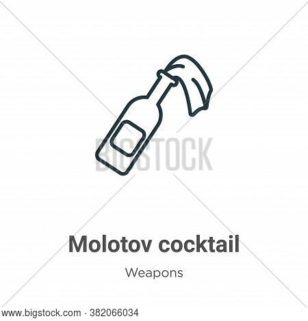 Molotov cocktail icon isolated on white background from weapons collection. Molotov cocktail icon tr