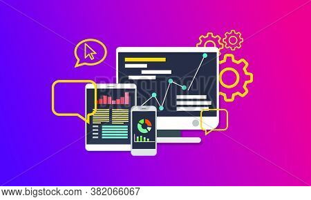 Seo (search Engine Optimization) Concept Vector Flat Illustration. Analysis Service On Computer, Tab