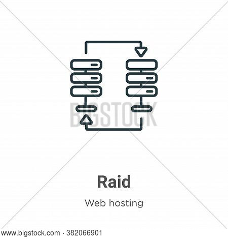Raid icon isolated on white background from web hosting collection. Raid icon trendy and modern Raid