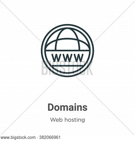 Domains Icon From Web Hosting Collection Isolated On White Background.