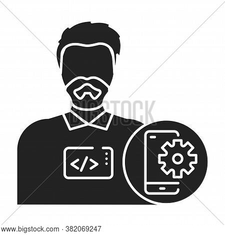 Mobile App Developer Black Glyph Icon. The Software Engineer Is Engaged In Testing And Programming A