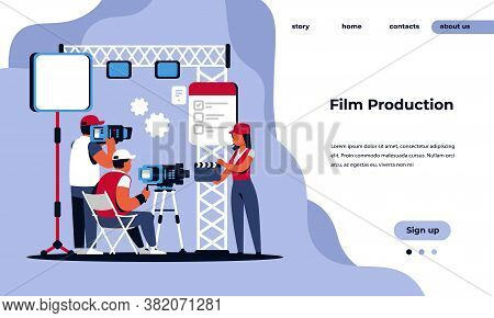 Video Production Landing Page. Movie Making Studio And Shooting Film Concept With Cartoon Movie Crew