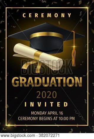 Graduation Party. Prom Celebration Invitation Poster, Congratulation And Greetings Flyer With Black