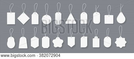 White Tags. Price Labels Mockup With Realistic Shadows And Threads, Blank Round And Square Tags For