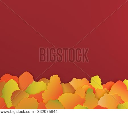 Autumn Red Background With Colourful Paper Trees,design For Sale Banner, Poster, Thanksgiving Day, G