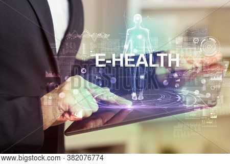 Electronic medical record with E-HEALTH inscription, Medical technology concept