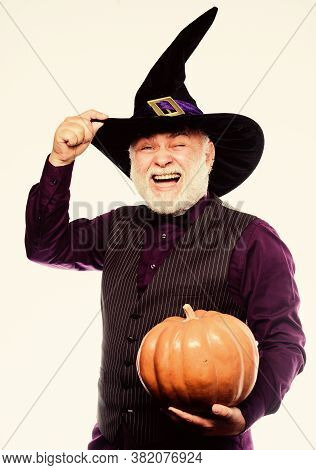 Wizard Costume Hat Halloween Party. Magician Witcher Old Man. Magic Concept. Experienced And Wise. M
