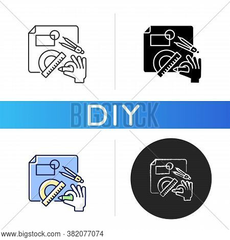Diy Designing Black Glyph Icon. Engineering Blueprint. Technical Scheme. Architect Plan For Project.