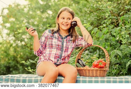 Eat Healthy. Kid Gathering Vegetables Nature Background. Healthy Homegrown Food Concept. Girl Cute S