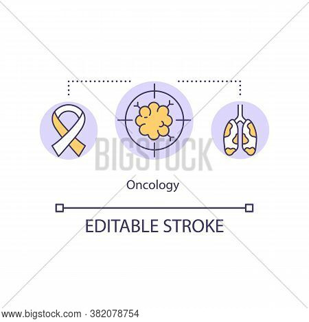 Oncology Concept Icon. Oncologist. Radiation And Medical Oncology. Cancer Treatment And Prevention I