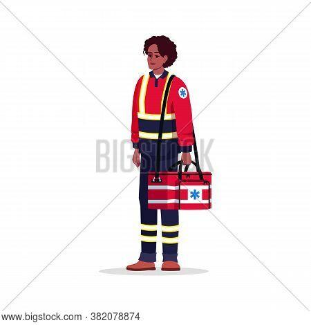 Paramedic Semi Flat Rgb Color Vector Illustration. Emergency Technician. Health Professional. Afro A