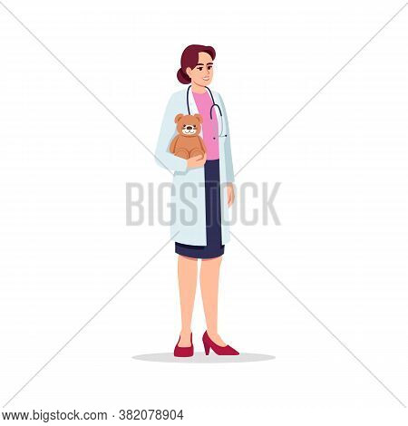 Baby Doctor Semi Flat Rgb Color Vector Illustration. Children Care Doctor. Medical Personnel. Young