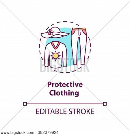Protective Clothing Concept Icon. Sun Protection Clothes. Ultraviolet Protection Factor Idea Thin Li