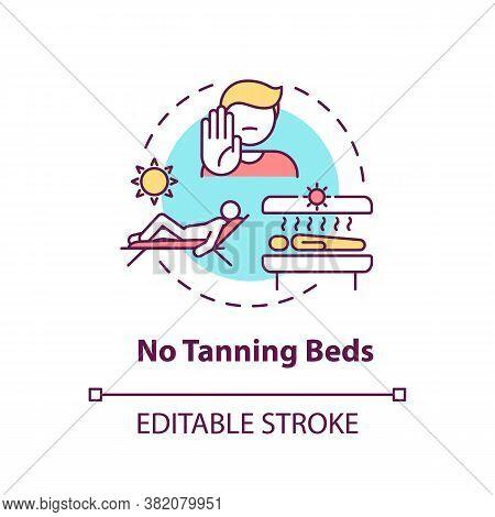 No Tanning Beds Concept Icon. Sunbathing. Ultraviolet Sunbeds. Solarium Machine Indoor Tanning Risks