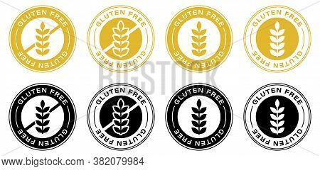 Gluten Free Label Icons Set. No Wheat Symbols Templates Design For Gluten Free Food Package Or Diete