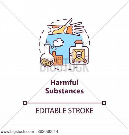 Harmful Substances Concept Icon. Cancer Risk Factors. Poisons. Chemicals And Hazardous Substances Id
