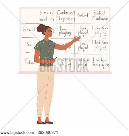Female Teacher Near Chalkboard In School Classroom.