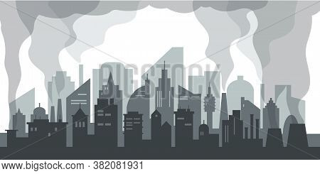 Air Pollution Problem In Big City. Silhouette Of Modern City With Skyscrapers, Factories And Plants.