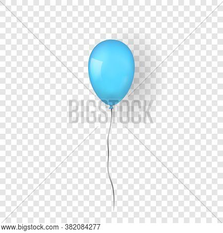 Blue Balloon 3d, Thread, Isolated White Transparent Background. Color Glossy Flying Baloon, Ribbon F