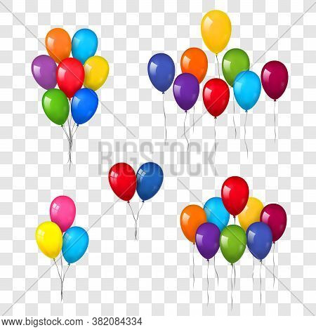 Balloons 3d Bunch Set, Thread, Isolated White Transparent Background. Color Flying Glossy Baloon, Ri