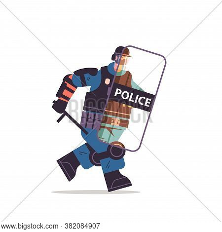 Policeman In Full Tactical Gear Riot Police Officer Running With Shield And Baton Protester And Demo