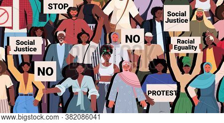 African American People Activists Holding Stop Rasism Posters Racial Equality Social Justice Stop Di