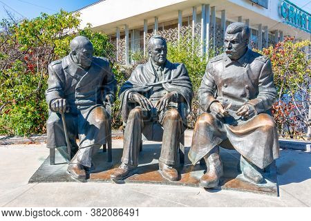 Crimea - August 2020: Monument To Stalin, Roosevelt And Churchill At Livadia Palace Near Yalta