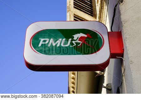 Bordeaux , Aquitaine / France - 08 16 2020 : Pmu Logo And Text Sign Store French Agency For Horse Ra
