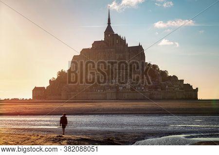 Le Mont St Michel, Normandy, France at sunset