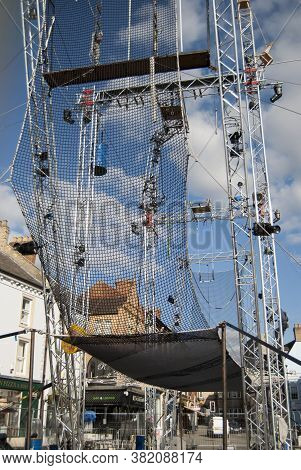Grantham/england-sptember 28, 2018.trapeze Artists Structure For The Gravity Fields 2018 Event At Ma