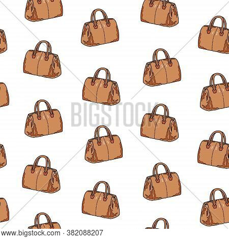 Seamless Pattern Of Brown Bag On A White Background. Fashion Wallpaper. Hand Drawing. Vector Illustr