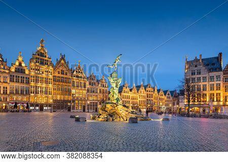 Grote Markt of Antwerp, Belgium at twilight.