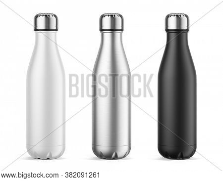 Empty Metal Reusable Water Sport Bottle Isolated on White Background. White, Silver and Black water bottles. Template Mockup. 3d rendering