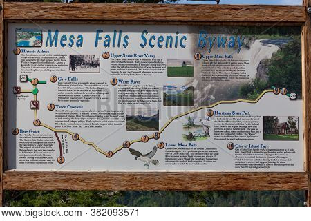 Mesa Falls Scenic Byway, Idaho / Usa - July 20, 2014:  A Large Sign Showing Several Points Of Intere