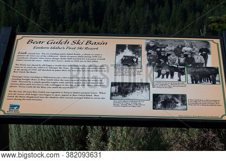 Mesa Falls Scenic Byway, Idaho / Usa - July 20, 2014:  A Sign Showing Information About Bear Gulch S