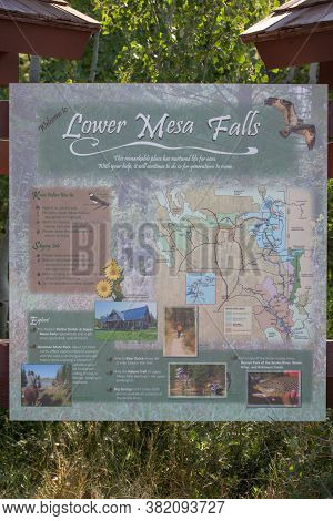 Mesa Falls Scenic Byway, Idaho / Usa - July 20, 2014:  A Large Sign Showing Information About Lower