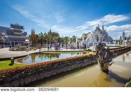 Beautiful Ornate White Temple Located In Chiang Rai Northern Thailand. Wat Rong Khun White Temple, I