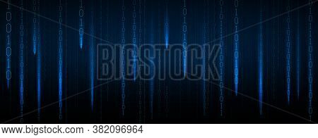 Abstract Blue Futuristic Cyberspace With Stream Of Binary Code, Matrix Background With Digits. The C