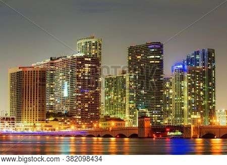 Miami City Night. Downtown Miami Skyline At Dusk, Florida
