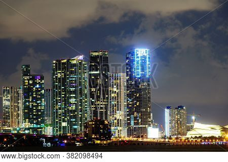 Miami Night Downtown. Miami, Florida Usa Downtown Cityscape