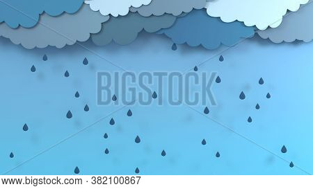 Autumn Background Layout Decorate With Clouds, Rain And Trees For Shopping Or Promo Poster And Frame
