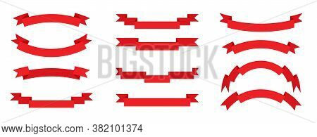 Retro Flag Flat Set. Red Ribbon, Blank Tape For Text, Price Tag, Sale Label. Empty Different Shape S