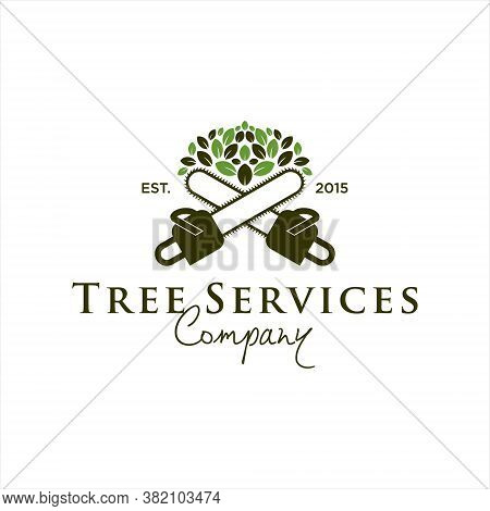 Tree Service Logo Design Template Idea. Chainsaw And Leaf Vector Badge Inspiration