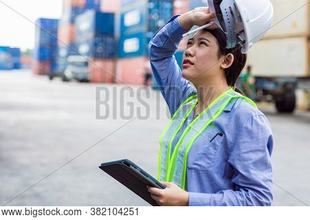 Woman Worker Tired Fatigue From Hardwork Overload And Outdoor Hot Weather Sweating In Port Cargo Shi