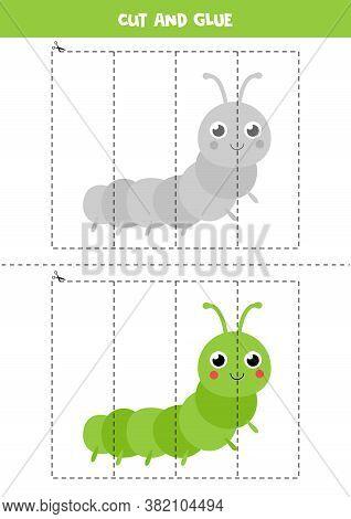 Cut And Glue Game For Kids. Cute Cartoon Caterpillar.